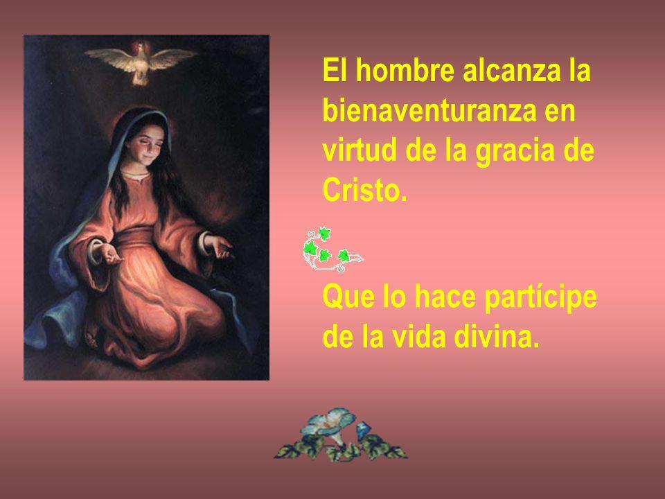 El hombre alcanza la bienaventuranza en virtud de la gracia de Cristo. Que lo hace partícipe de la vida divina.
