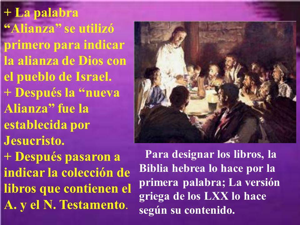 + La palabra Alianza se utilizó primero para indicar la alianza de Dios con el pueblo de Israel.