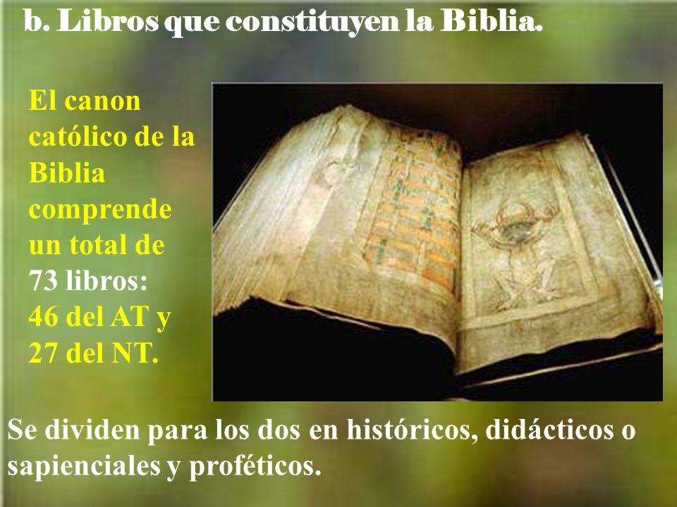 b.Libros que constituyen la Biblia.