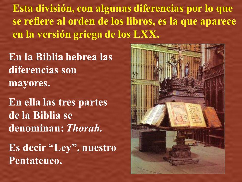 Esta división, con algunas diferencias por lo que se refiere al orden de los libros, es la que aparece en la versión griega de los LXX.