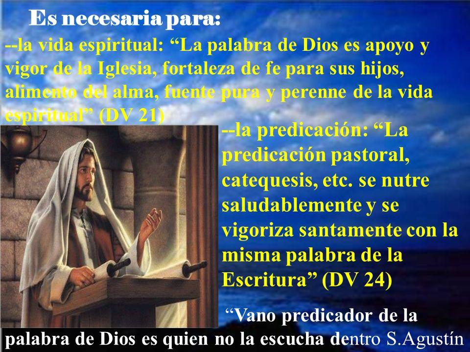 --la vida espiritual: La palabra de Dios es apoyo y vigor de la Iglesia, fortaleza de fe para sus hijos, alimento del alma, fuente pura y perenne de la vida espiritual (DV 21) --la predicación: La predicación pastoral, catequesis, etc.