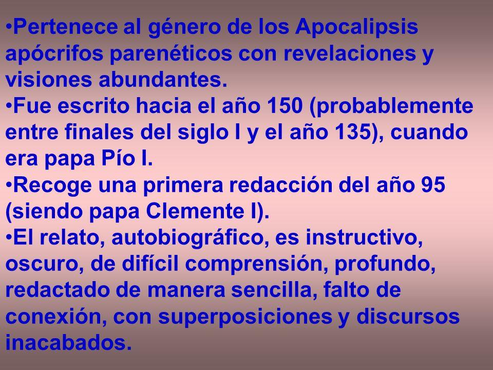 Pertenece al género de los Apocalipsis apócrifos parenéticos con revelaciones y visiones abundantes. Fue escrito hacia el año 150 (probablemente entre