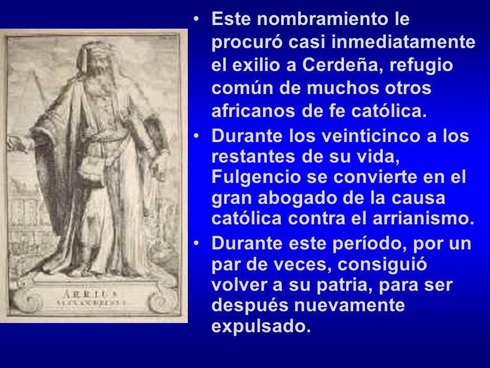 Este nombramiento le procuró casi inmediatamente el exilio a Cerdeña, refugio común de muchos otros africanos de fe católica. Durante los veinticinco