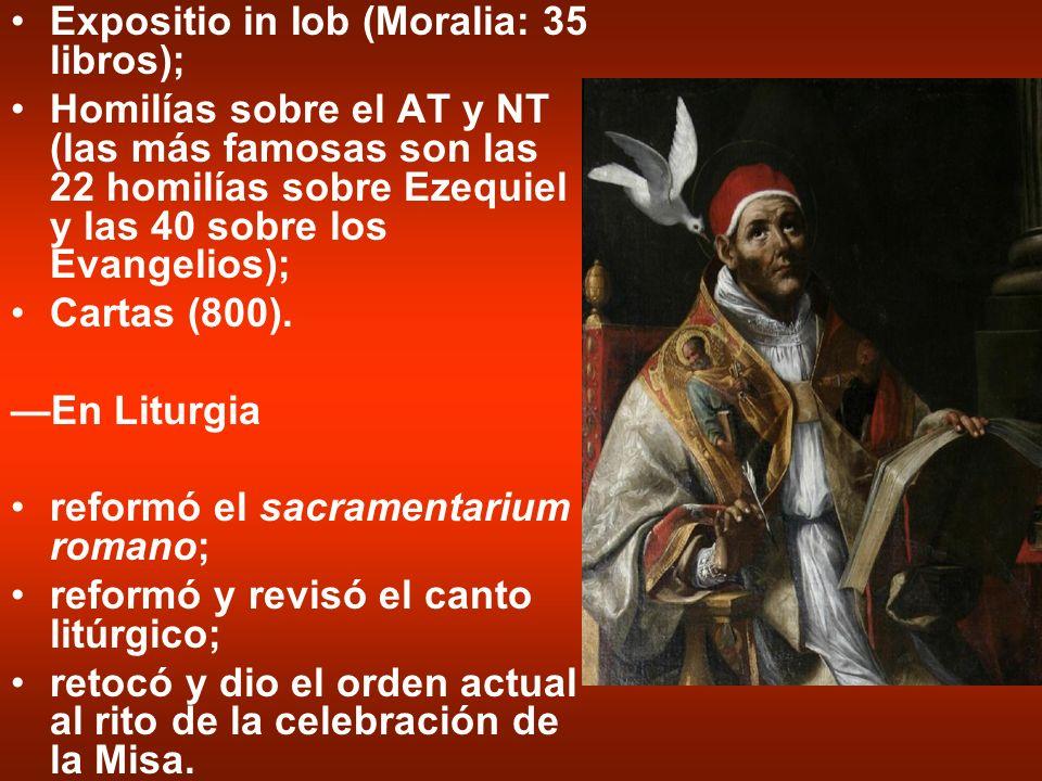 Expositio in Iob (Moralia: 35 libros); Homilías sobre el AT y NT (las más famosas son las 22 homilías sobre Ezequiel y las 40 sobre los Evangelios); C
