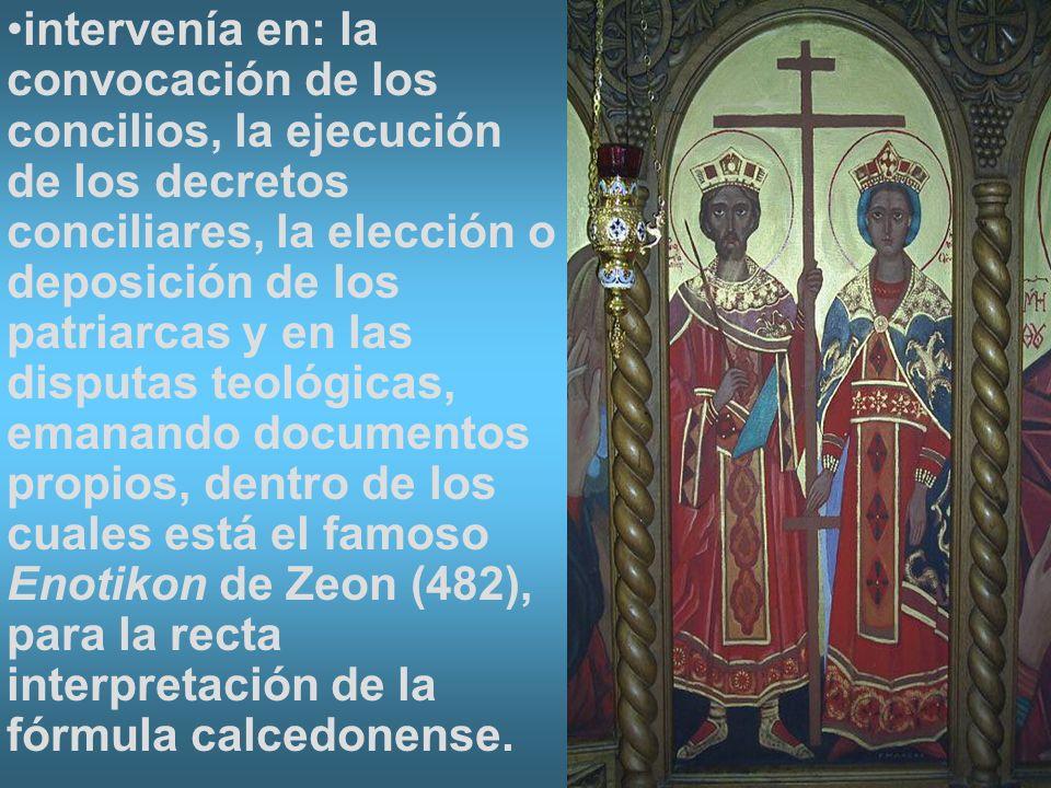 intervenía en: la convocación de los concilios, la ejecución de los decretos conciliares, la elección o deposición de los patriarcas y en las disputas