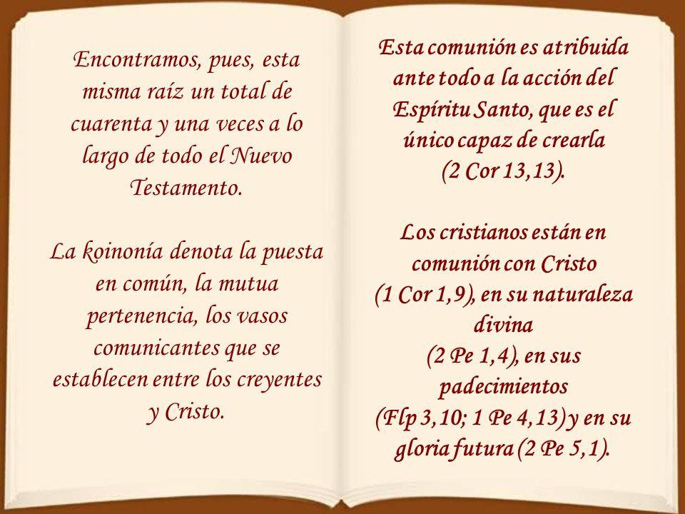Que tu fiesta no tenga fin Capítulo 2 En el Nuevo Testamento aparece diecinueve veces la palabras koinonía (comunión). Junto a ella otros vocablos de