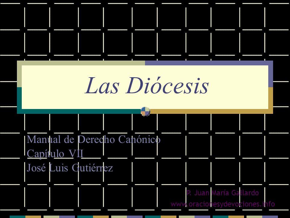 Las Diócesis Manual de Derecho Canónico Capítulo VII José Luis Gutiérrez P. Juan María Gallardo www.oracionesydevociones.info