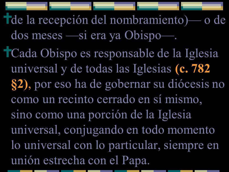 de la recepción del nombramiento) o de dos meses si era ya Obispo. Cada Obispo es responsable de la Iglesia universal y de todas las Iglesias (c. 782