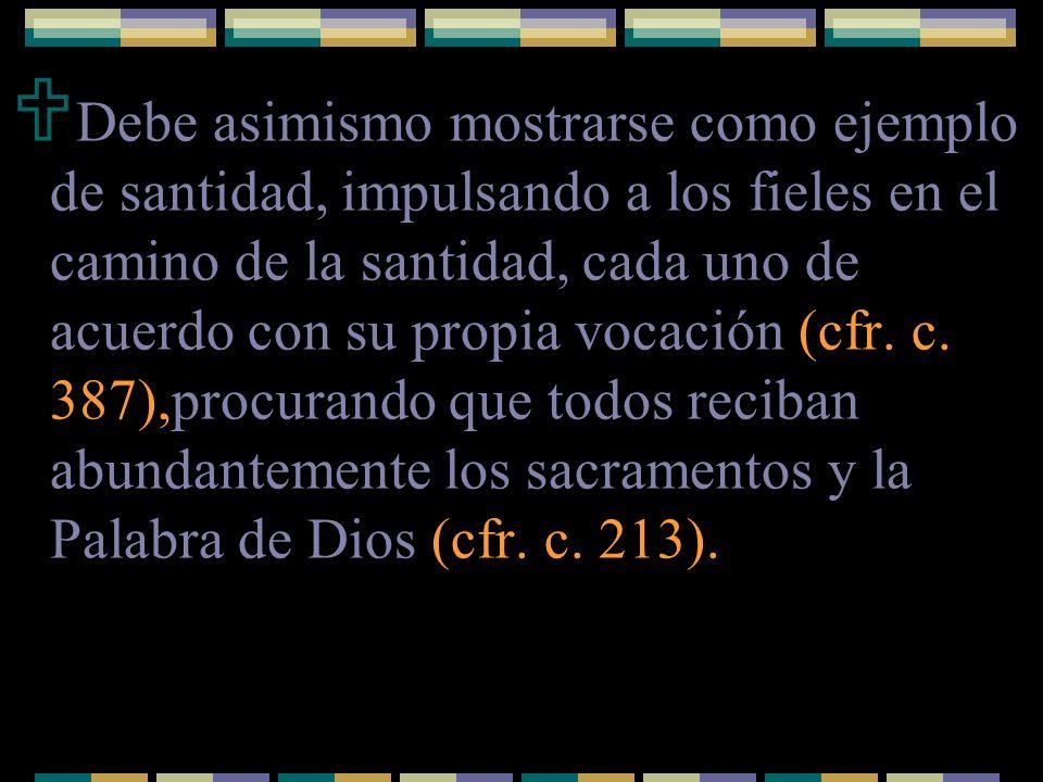 Debe asimismo mostrarse como ejemplo de santidad, impulsando a los fieles en el camino de la santidad, cada uno de acuerdo con su propia vocación (cfr.