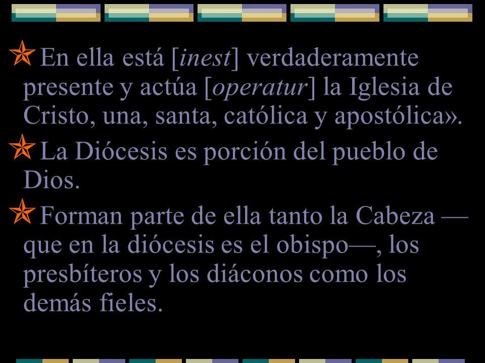En ella está [inest] verdaderamente presente y actúa [operatur] la Iglesia de Cristo, una, santa, católica y apostólica». La Diócesis es porción del p