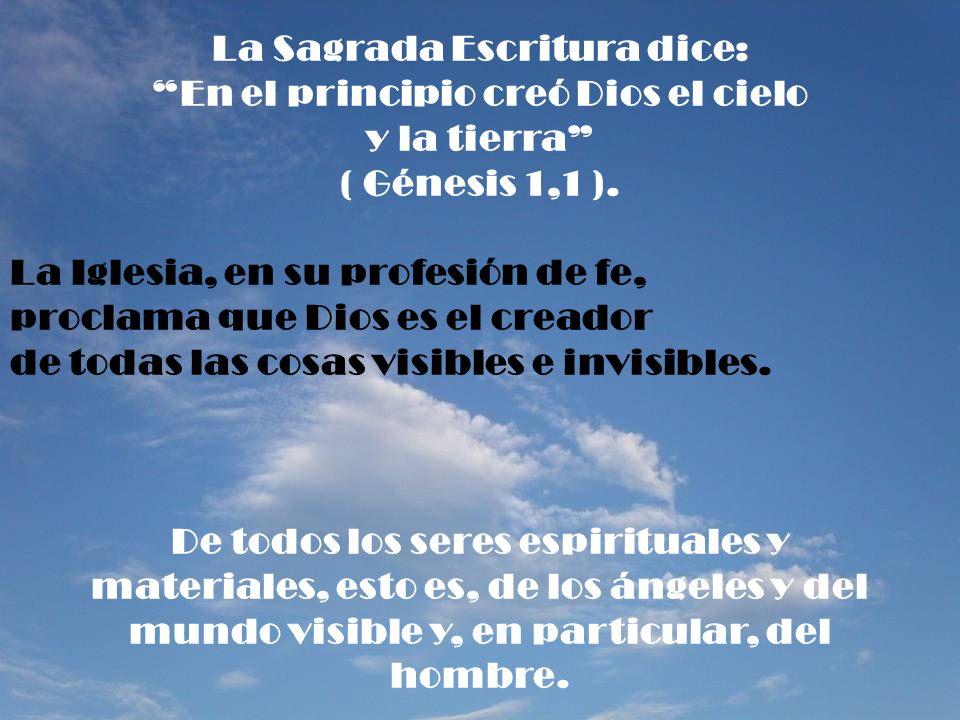 La Sagrada Escritura dice: En el principio creó Dios el cielo y la tierra ( Génesis 1,1 ). La Iglesia, en su profesión de fe, proclama que Dios es el