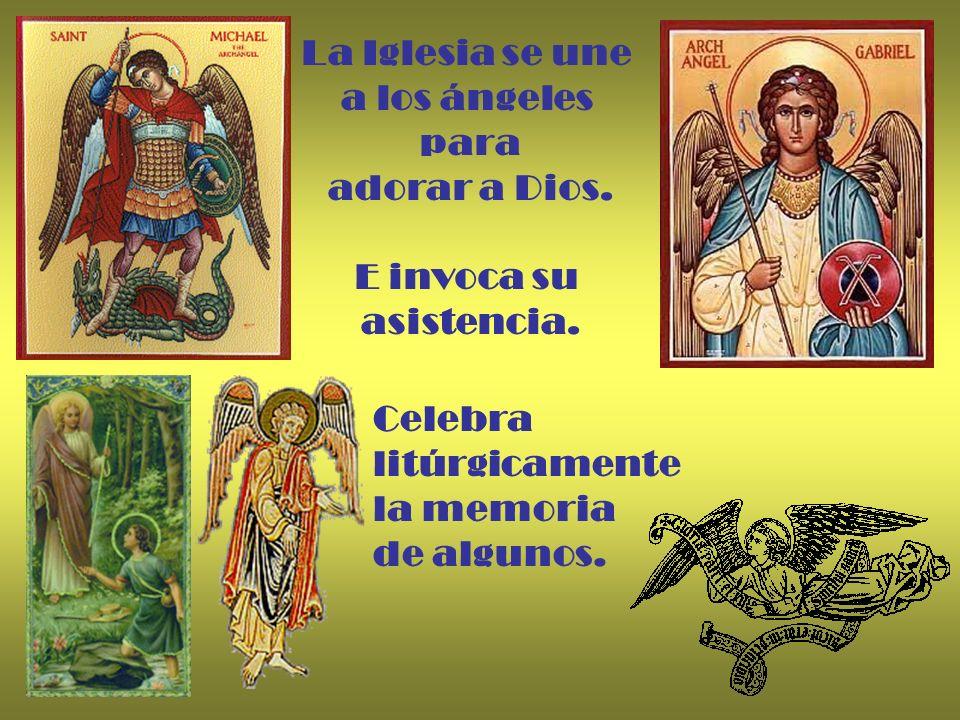 La Iglesia se une a los ángeles para adorar a Dios. E invoca su asistencia. Celebra litúrgicamente la memoria de algunos.