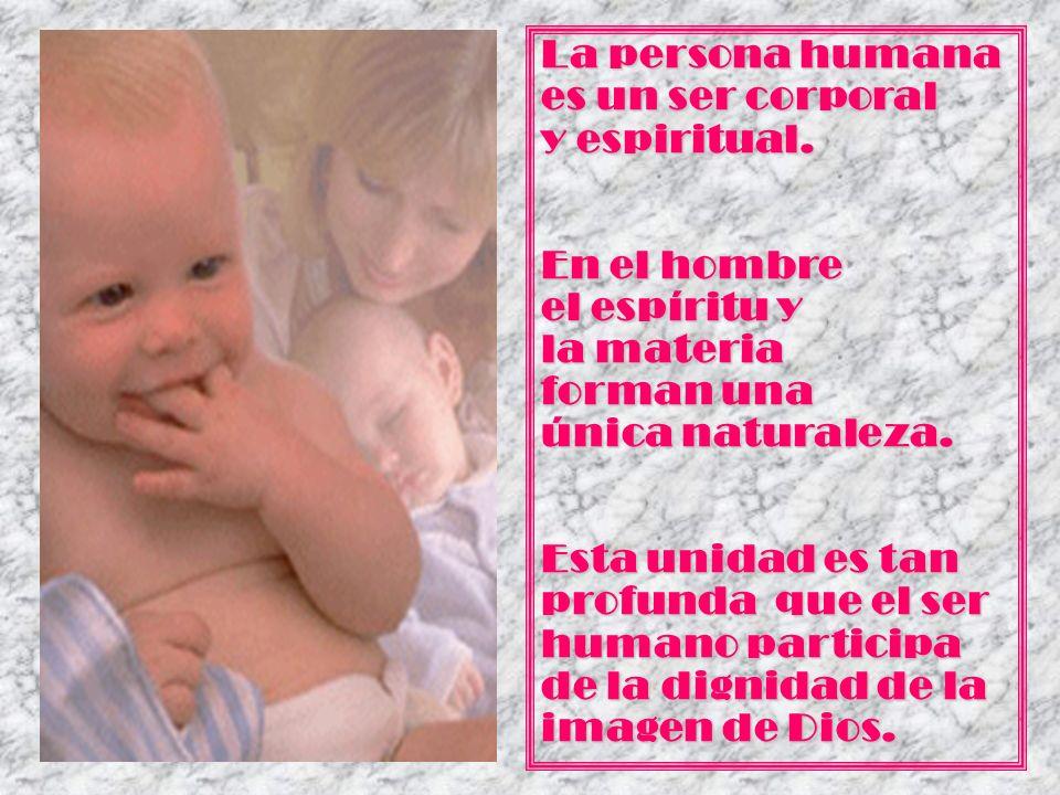 La persona humana es un ser corporal y espiritual. En el hombre el espíritu y la materia forman una única naturaleza. Esta unidad es tan profunda que