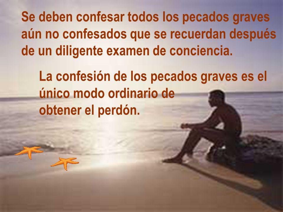 Se deben confesar todos los pecados graves aún no confesados que se recuerdan después de un diligente examen de conciencia. La confesión de los pecado