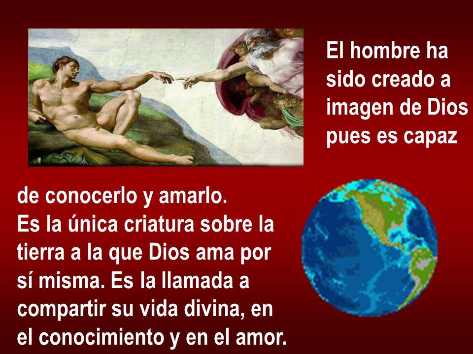 El hombre ha sido creado a imagen de Dios pues es capaz de conocerlo y amarlo. Es la única criatura sobre la tierra a la que Dios ama por sí misma. Es