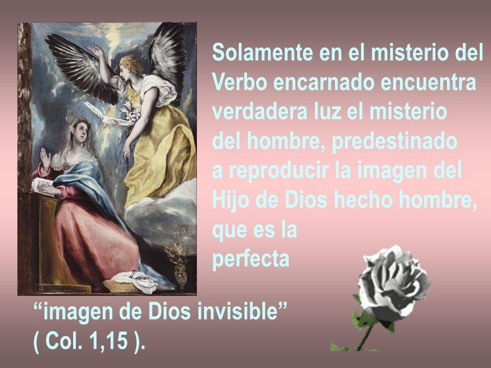 Solamente en el misterio del Verbo encarnado encuentra verdadera luz el misterio del hombre, predestinado a reproducir la imagen del Hijo de Dios hech
