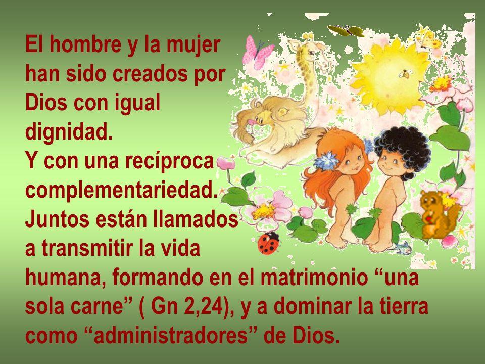 El hombre y la mujer han sido creados por Dios con igual dignidad. Y con una recíproca complementariedad. Juntos están llamados a transmitir la vida h