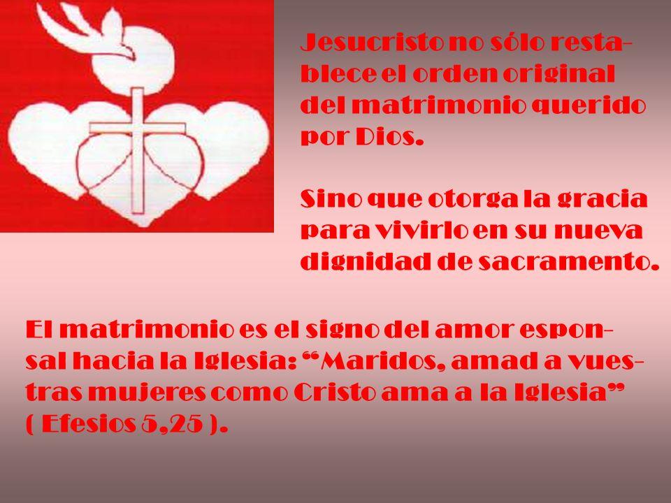 Jesucristo no sólo resta- blece el orden original del matrimonio querido por Dios. Sino que otorga la gracia para vivirlo en su nueva dignidad de sacr