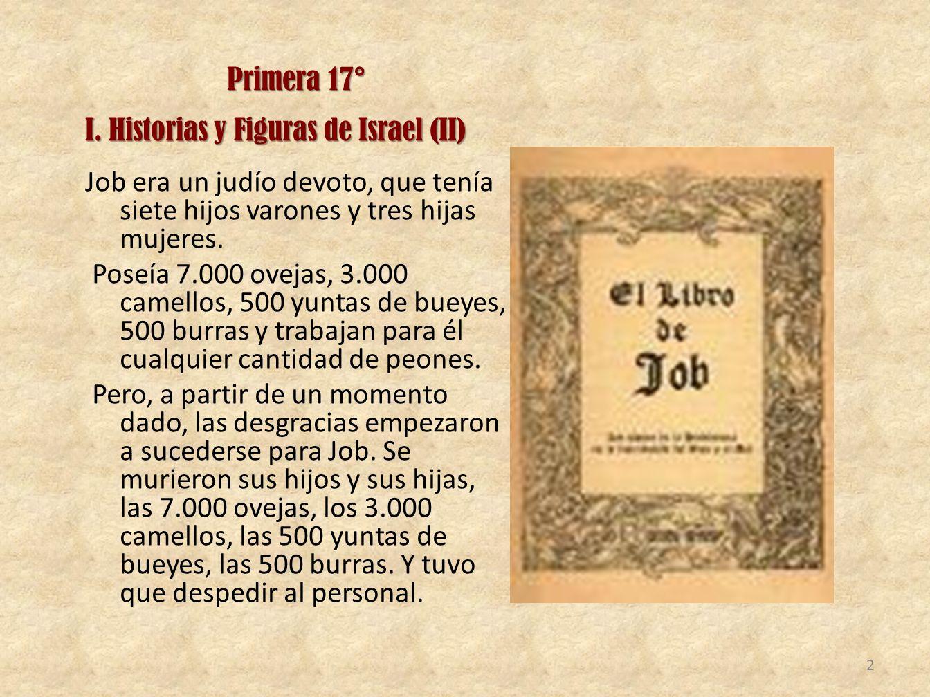 Primera 17° I. Historias y Figuras de Israel (II) Job era un judío devoto, que tenía siete hijos varones y tres hijas mujeres. Poseía 7.000 ovejas, 3.