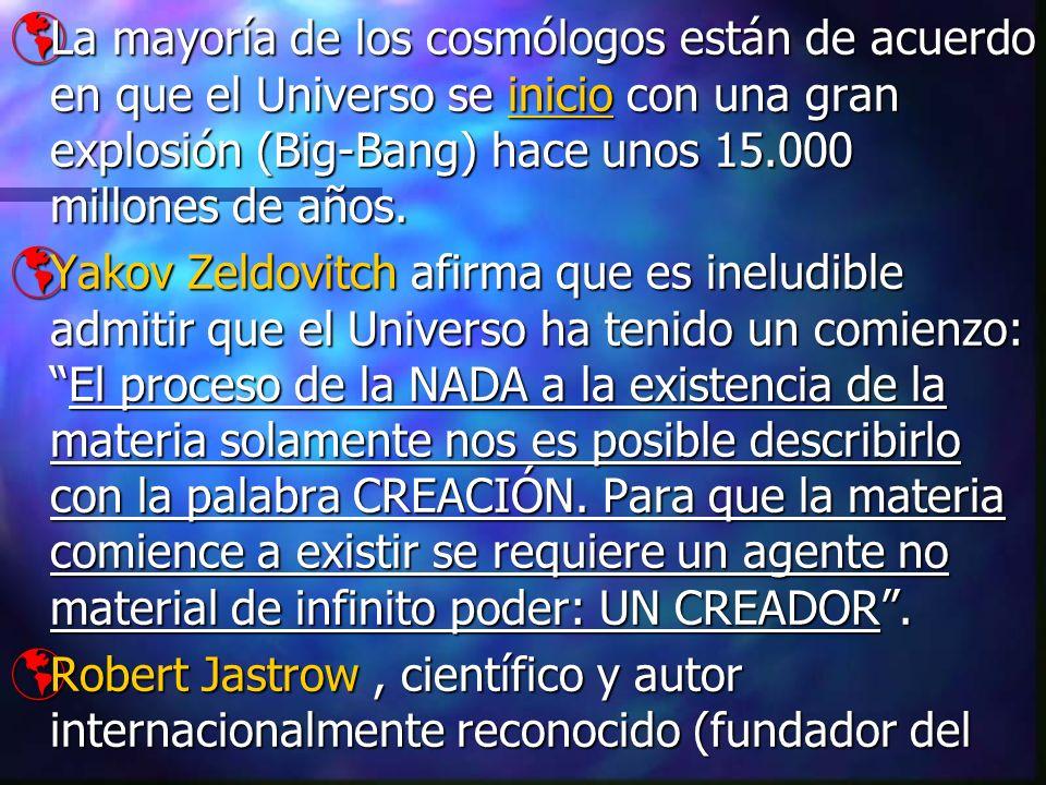 La mayoría de los cosmólogos están de acuerdo en que el Universo se inicio con una gran explosión (Big-Bang) hace unos 15.000 millones de años. La may