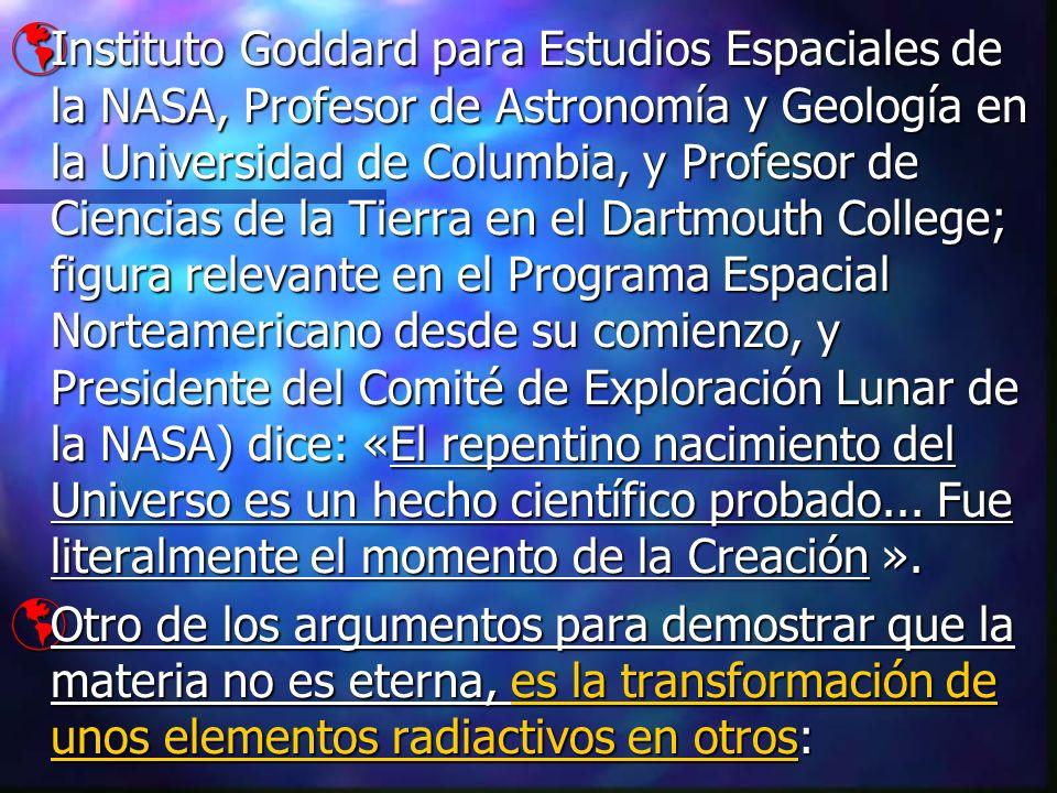 Instituto Goddard para Estudios Espaciales de la NASA, Profesor de Astronomía y Geología en la Universidad de Columbia, y Profesor de Ciencias de la T