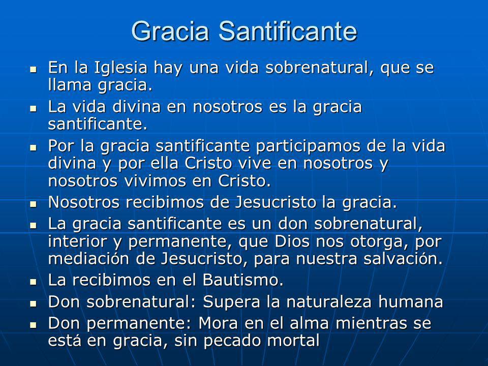 Gracia Santificante En la Iglesia hay una vida sobrenatural, que se llama gracia. En la Iglesia hay una vida sobrenatural, que se llama gracia. La vid