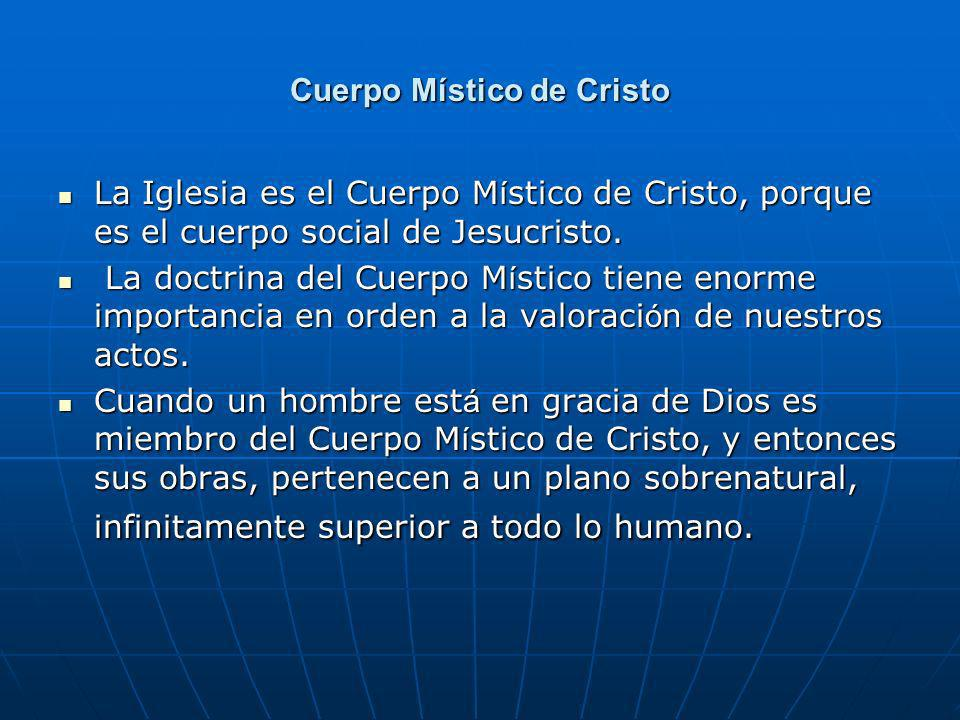 Cuerpo Místico de Cristo La Iglesia es el Cuerpo M í stico de Cristo, porque es el cuerpo social de Jesucristo. La Iglesia es el Cuerpo M í stico de C