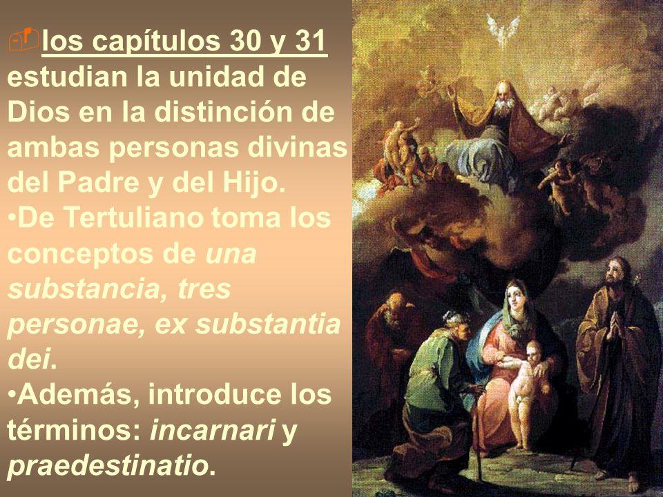 los capítulos 30 y 31 estudian la unidad de Dios en la distinción de ambas personas divinas del Padre y del Hijo. De Tertuliano toma los conceptos de