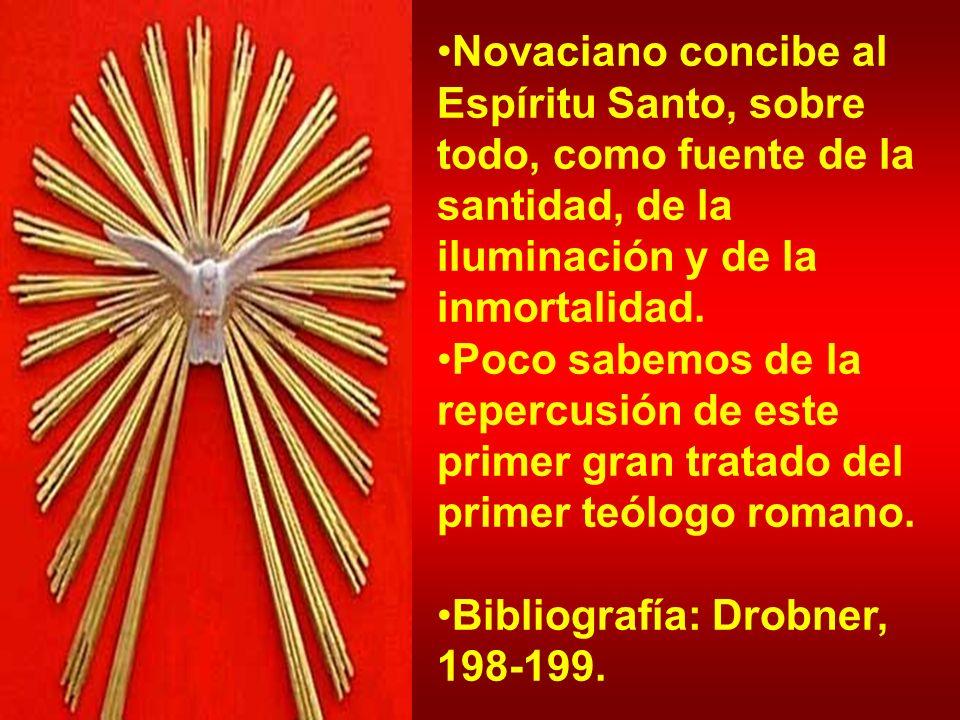 Novaciano concibe al Espíritu Santo, sobre todo, como fuente de la santidad, de la iluminación y de la inmortalidad. Poco sabemos de la repercusión de