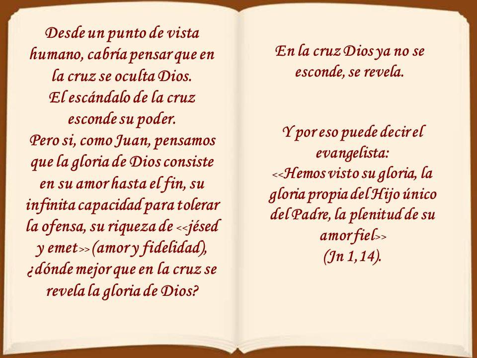 El grito de Jesús constata no meramente el cumplimiento de unas profecías, sino el cumplimiento del amor que llegando hasta el final no tiene ningún l
