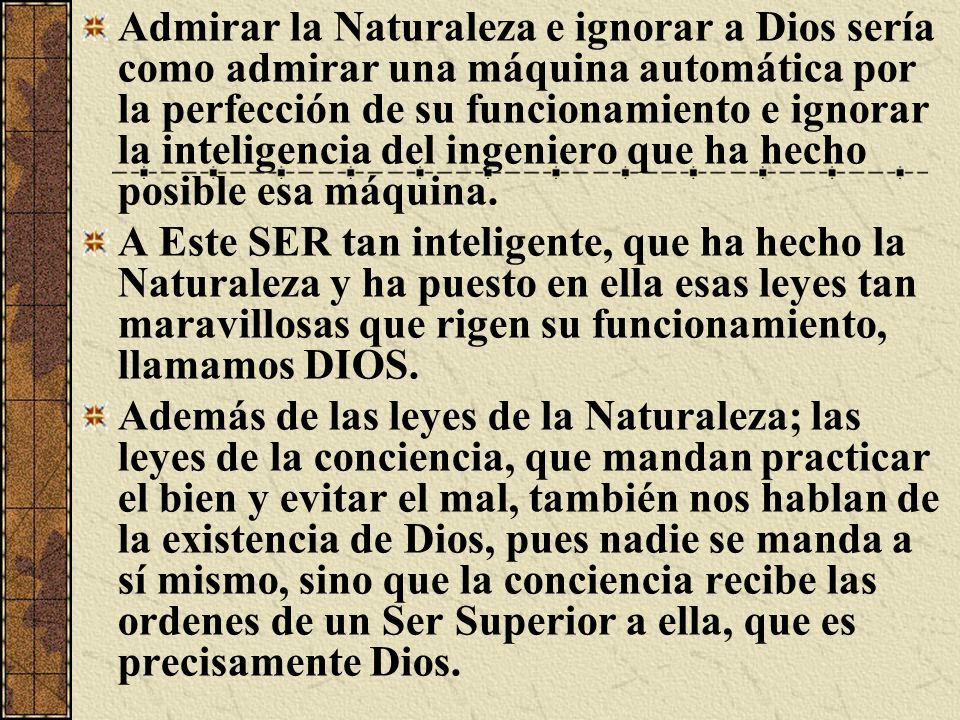 Admirar la Naturaleza e ignorar a Dios sería como admirar una máquina automática por la perfección de su funcionamiento e ignorar la inteligencia del