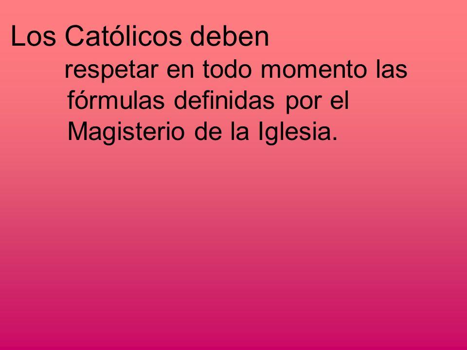 Los Católicos deben respetar en todo momento las fórmulas definidas por el Magisterio de la Iglesia.