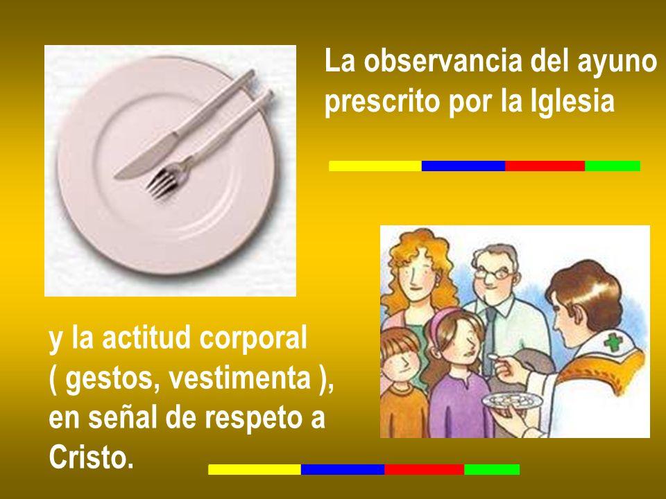 La observancia del ayuno prescrito por la Iglesia y la actitud corporal ( gestos, vestimenta ), en señal de respeto a Cristo.