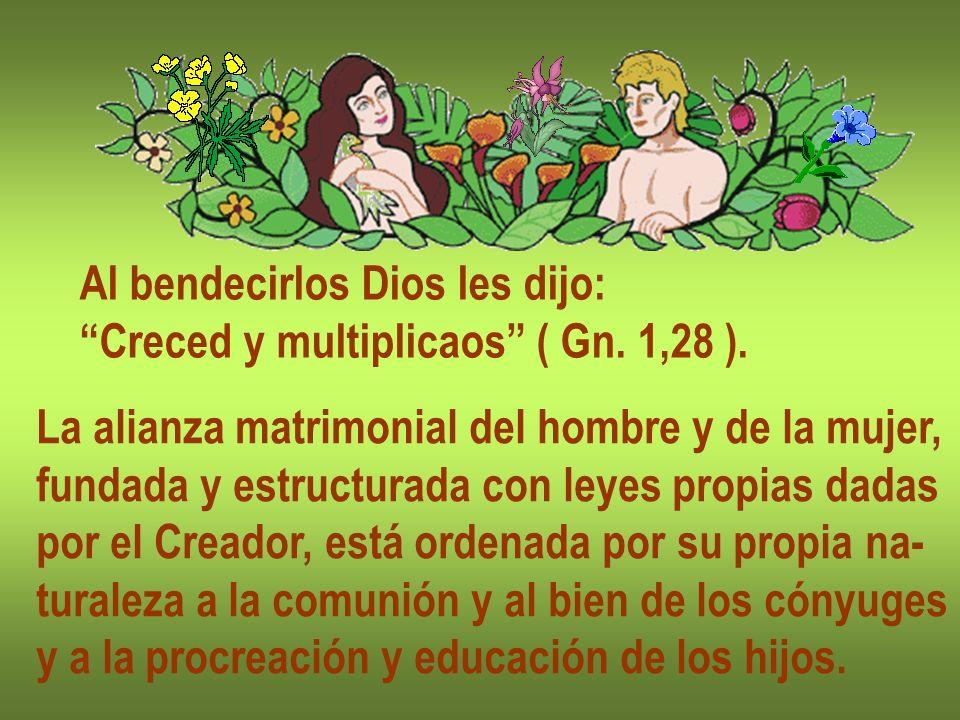 Al bendecirlos Dios les dijo: Creced y multiplicaos ( Gn. 1,28 ). La alianza matrimonial del hombre y de la mujer, fundada y estructurada con leyes pr