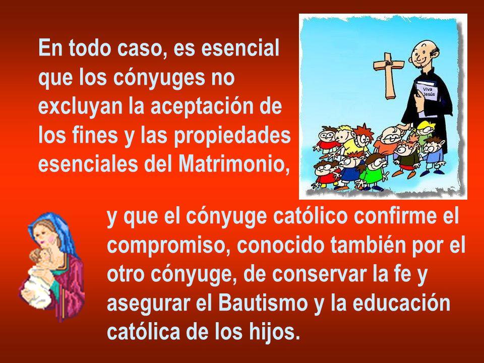 En todo caso, es esencial que los cónyuges no excluyan la aceptación de los fines y las propiedades esenciales del Matrimonio, y que el cónyuge católico confirme el compromiso, conocido también por el otro cónyuge, de conservar la fe y asegurar el Bautismo y la educación católica de los hijos.