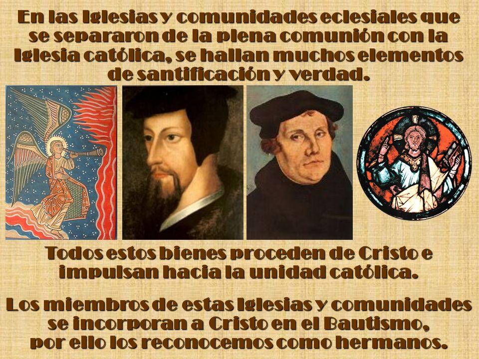 En las Iglesias y comunidades eclesiales que se separaron de la plena comunión con la Iglesia católica, se hallan muchos elementos de santificación y