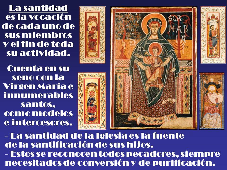 La santidad es la vocación de cada uno de sus miembros y el fin de toda su actividad. Cuenta en su seno con la Virgen María e innumerables santos, com