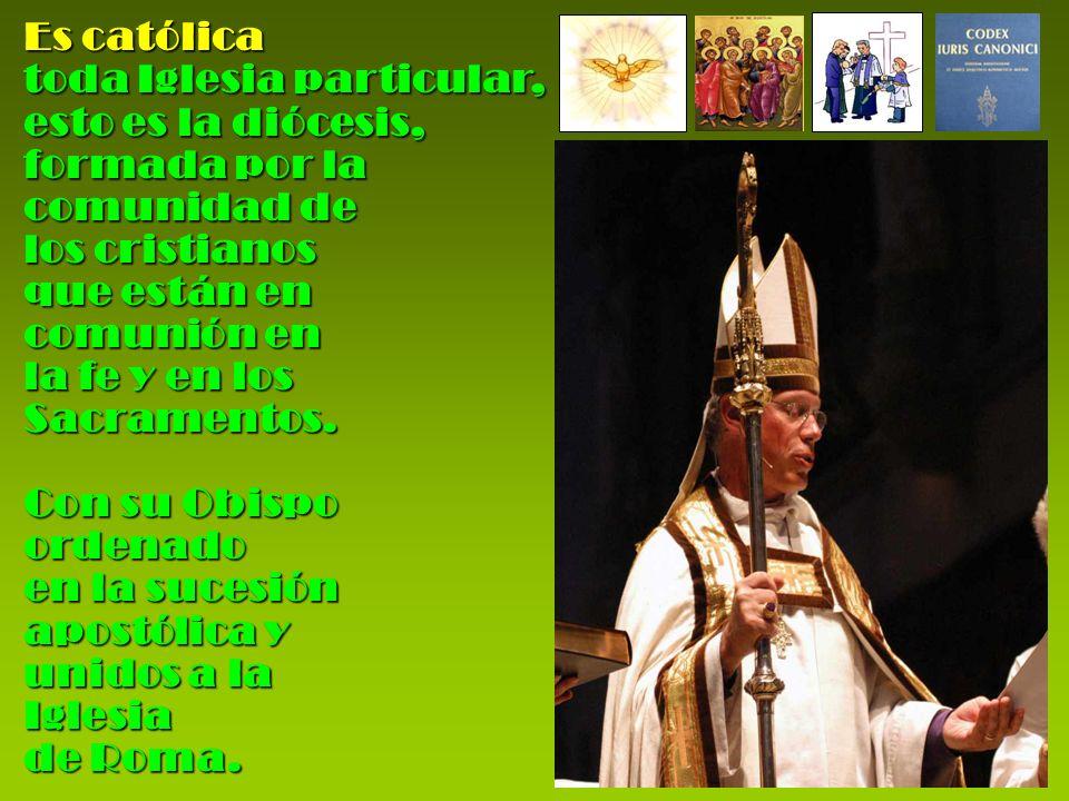 Es católica toda Iglesia particular, esto es la diócesis, formada por la comunidad de los cristianos que están en comunión en la fe y en los Sacrament
