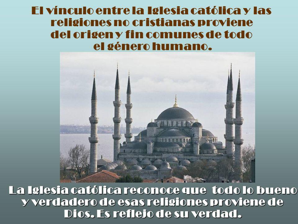 El vínculo entre la Iglesia católica y las religiones no cristianas proviene del origen y fin comunes de todo el género humano. La Iglesia católica re