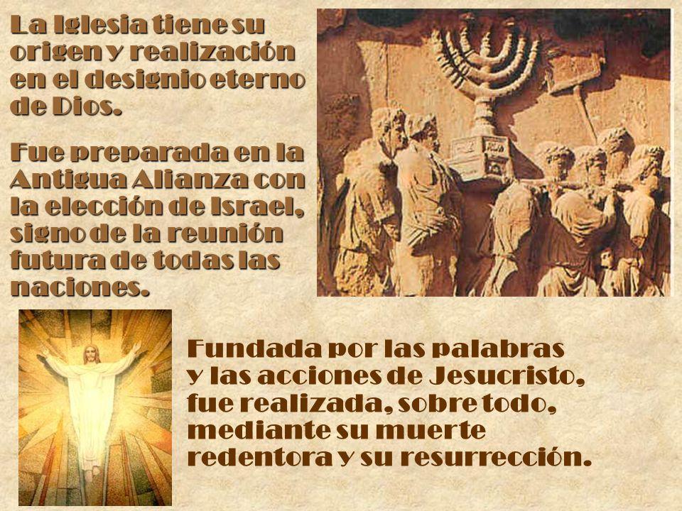 La Iglesia tiene su origen y realización en el designio eterno de Dios. Fue preparada en la Antigua Alianza con la elección de Israel, signo de la reu
