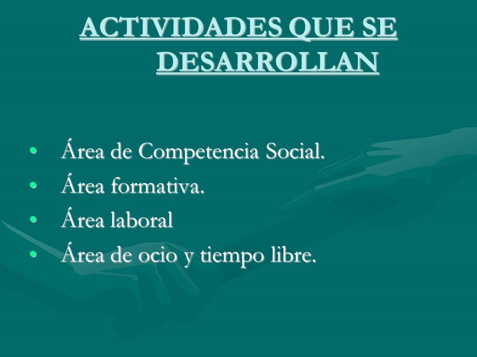 ACTIVIDADES QUE SE DESARROLLAN Área de Competencia Social.Área de Competencia Social. Área formativa.Área formativa. Área laboralÁrea laboral Área de