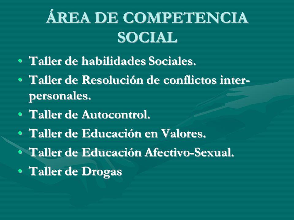 ÁREA DE COMPETENCIA SOCIAL Taller de habilidades Sociales.Taller de habilidades Sociales. Taller de Resolución de conflictos inter- personales.Taller