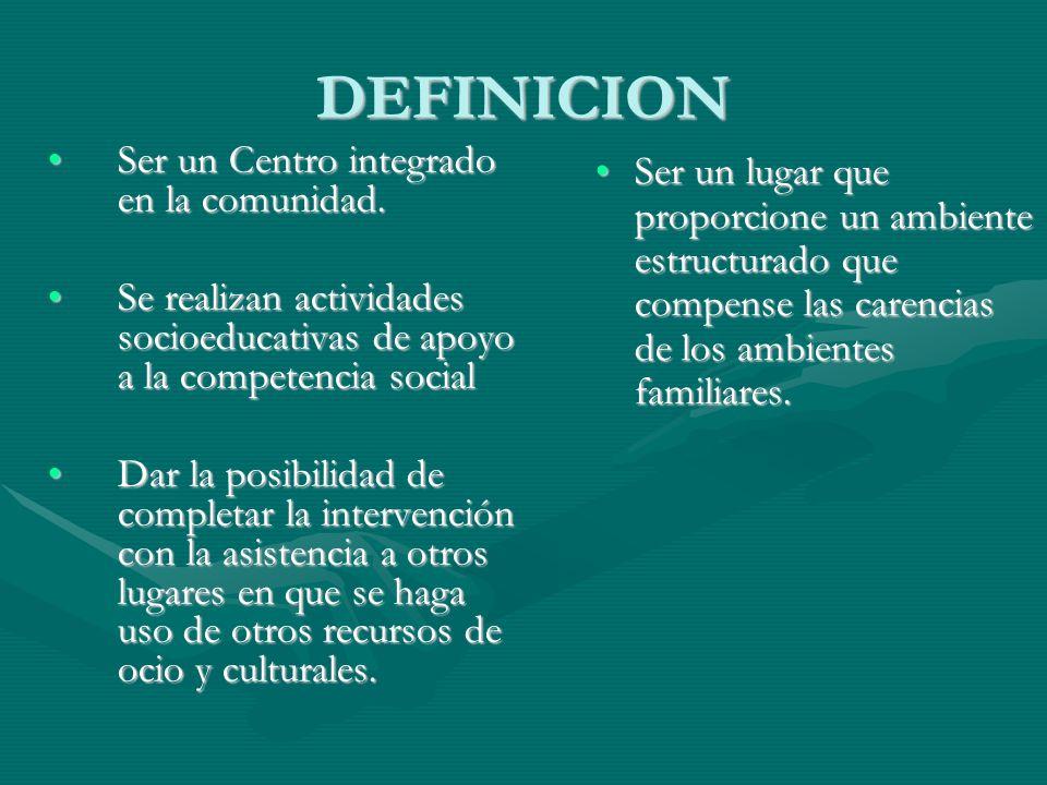 DEFINICION Ser un Centro integrado en la comunidad.Ser un Centro integrado en la comunidad. Se realizan actividades socioeducativas de apoyo a la comp