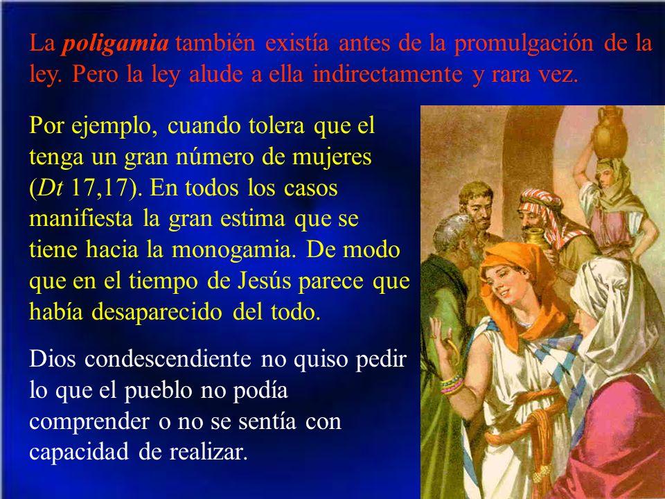 La poligamia también existía antes de la promulgación de la ley. Pero la ley alude a ella indirectamente y rara vez. Por ejemplo, cuando tolera que el