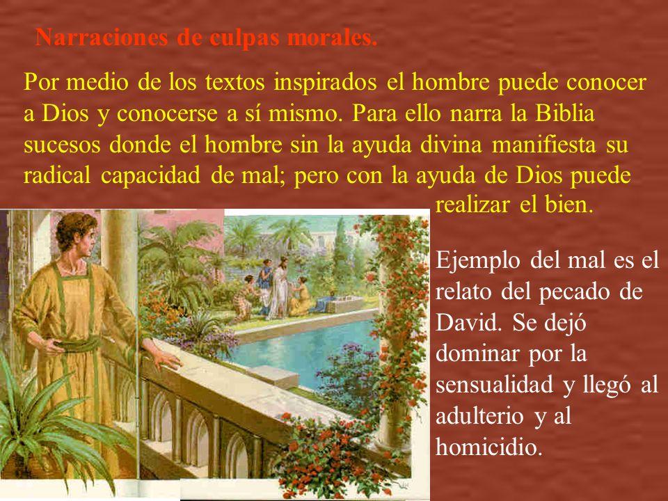 Narraciones de culpas morales. Por medio de los textos inspirados el hombre puede conocer a Dios y conocerse a sí mismo. Para ello narra la Biblia suc