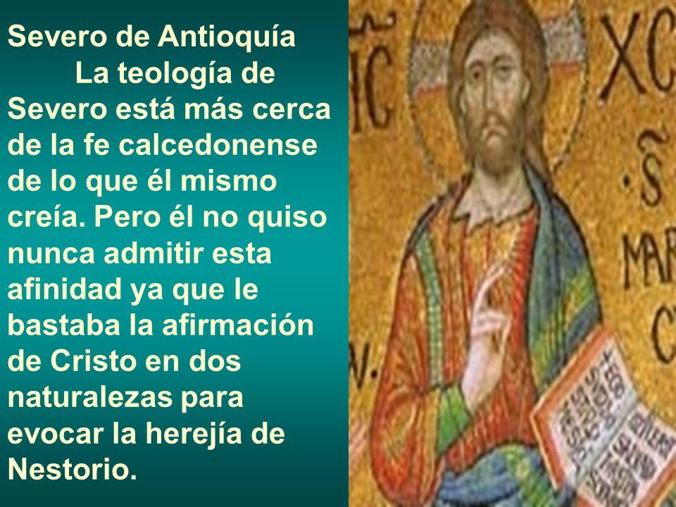 Severo de Antioquía La teología de Severo está más cerca de la fe calcedonense de lo que él mismo creía. Pero él no quiso nunca admitir esta afinidad