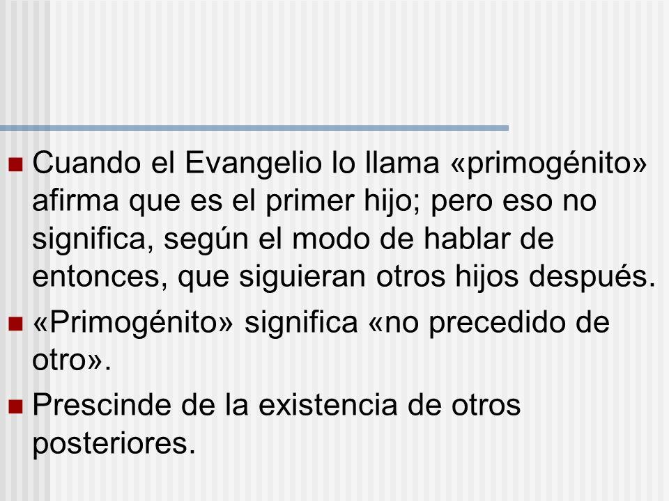 Cuando el Evangelio lo llama «primogénito» afirma que es el primer hijo; pero eso no significa, según el modo de hablar de entonces, que siguieran otr