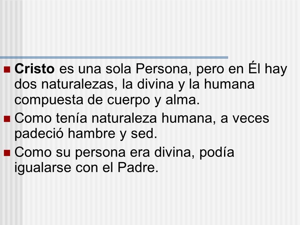 Cristo es una sola Persona, pero en Él hay dos naturalezas, la divina y la humana compuesta de cuerpo y alma. Como tenía naturaleza humana, a veces pa