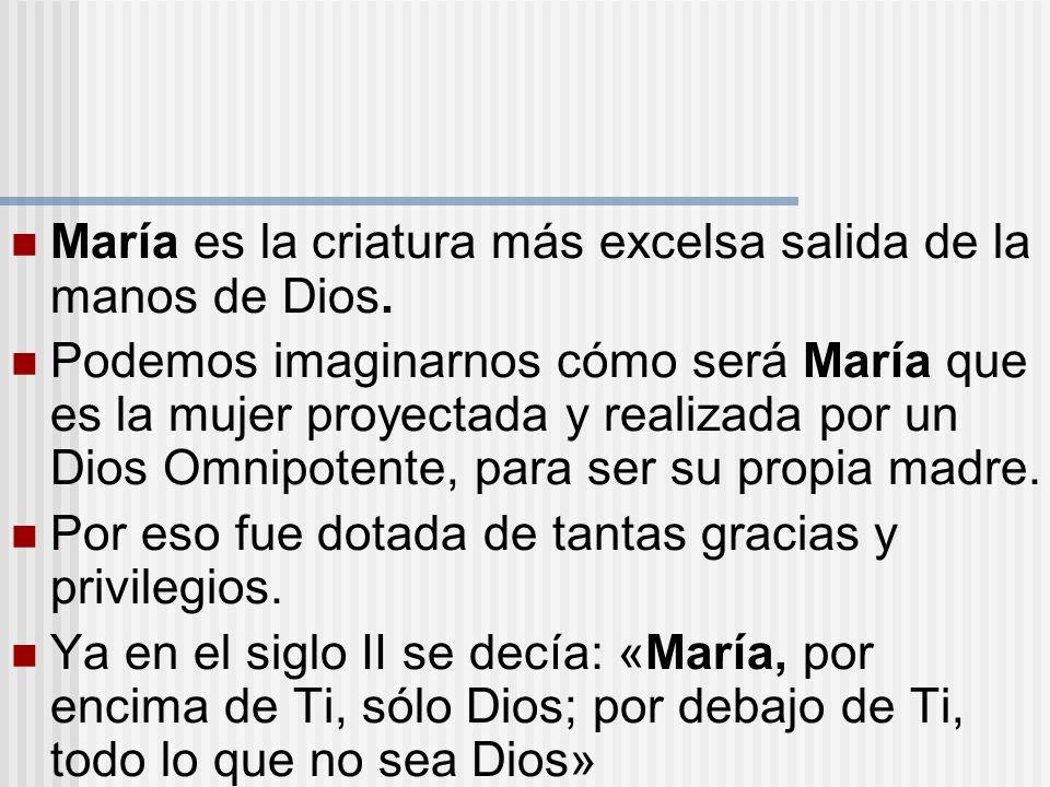 María es la criatura más excelsa salida de la manos de Dios. Podemos imaginarnos cómo será María que es la mujer proyectada y realizada por un Dios Om