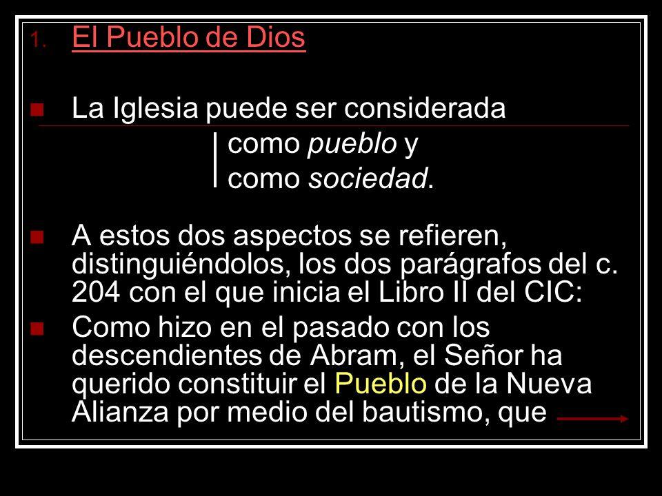 1. El Pueblo de Dios La Iglesia puede ser considerada como pueblo y como sociedad. A estos dos aspectos se refieren, distinguiéndolos, los dos parágra